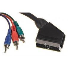 RGB To Scart Video 3 x Phono Plug Cable 10 Metres